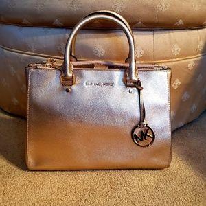 Michael Kors Metallic Gold Signature Handbag